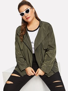 Plus Flap Pocket Front Zipper Up Jacket