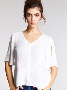Split Sleeve Button Up Blouse