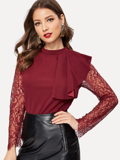 Exaggerate Ruffle Eyelash Lace Raglan Sleeve Top
