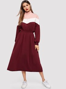 Zip Front Color-block Longline Dress