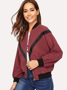 Drop Shoulder Zip Up Chevron Bomber Jacket