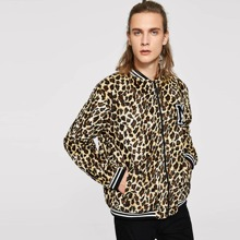 Guys Letter Patched Leopard Print Bomber Jacket