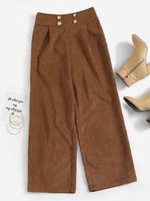 Double Breasted Wide Leg Corduroy Pants