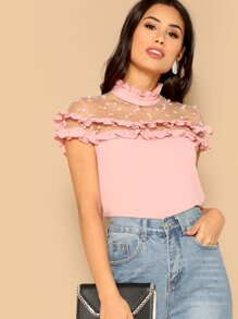 Pearl Beading Dot Mesh Yoke Frilled Top