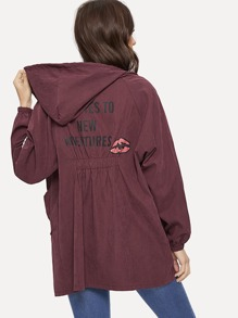 Letter Print Bishop Sleeve Zip-up Hooded Outerwear