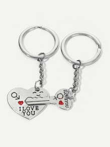 Slogan Pattern Metal Charm Keychain 1 Pair