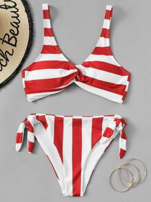 d2c55bde38743 Striped Twist Top With High Leg Bikini Set