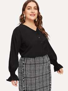 Plus Single Breasted Flounce Sleeve Blouse