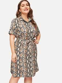 Plus Snake Print Button Front Shirt Dress