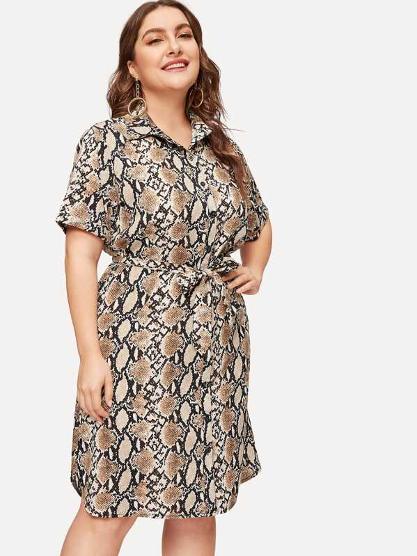 260596619 Plus Snake Print Button Front Shirt Dress | SHEIN