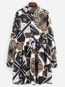 Scarf Print Shirt Dress