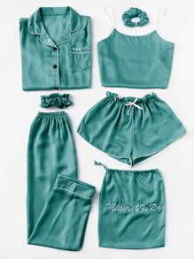 Plus 7pcs Letter Embroidered Satin Pajama Set