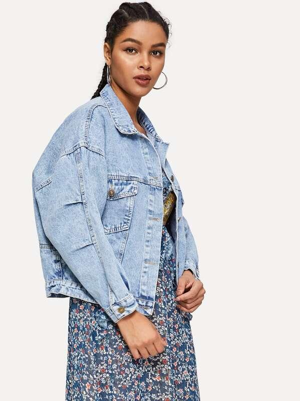 71d257f1e9 Drop Shoulder Bleach Wash Denim Jacket | SHEIN UK