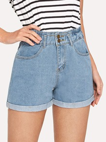 Roll-Hem Faded Denim Shorts