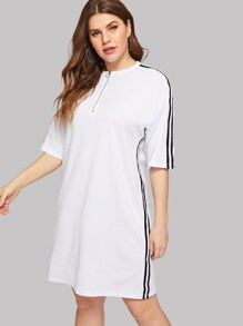 Plus Zip Contrast Striped Side Dress