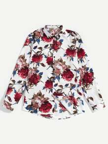 Men Floral Print Single Breasted Shirt