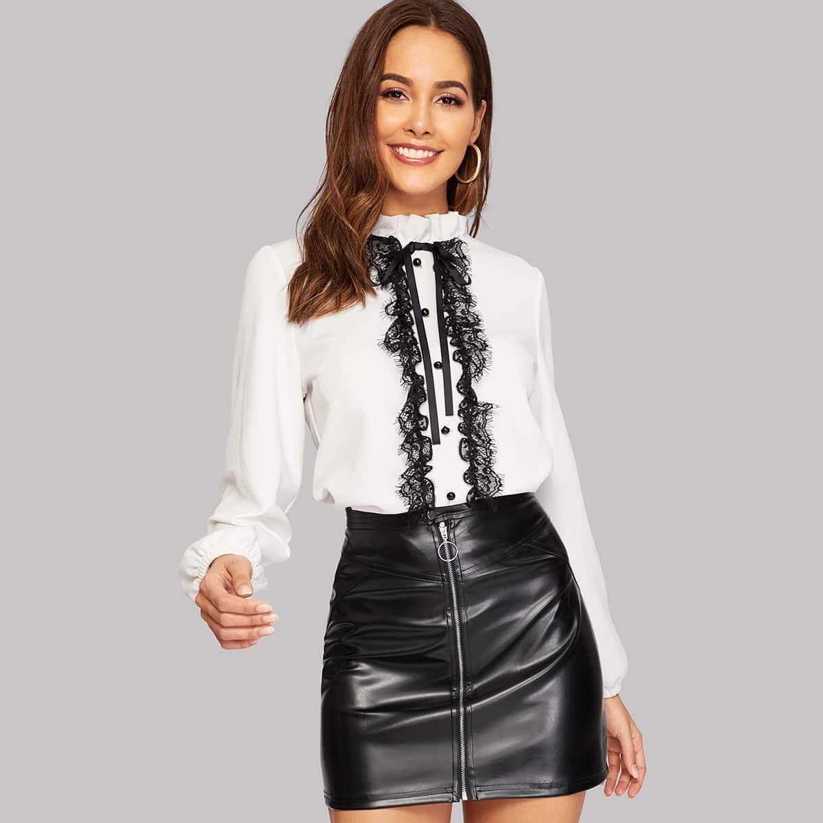 Нарядная Белая Блузка На Пуговицах С Рюшами SheIn blouse181114726