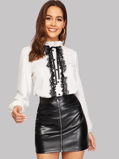 Eyelash Lace Panel Tied Frill Neck Blouse