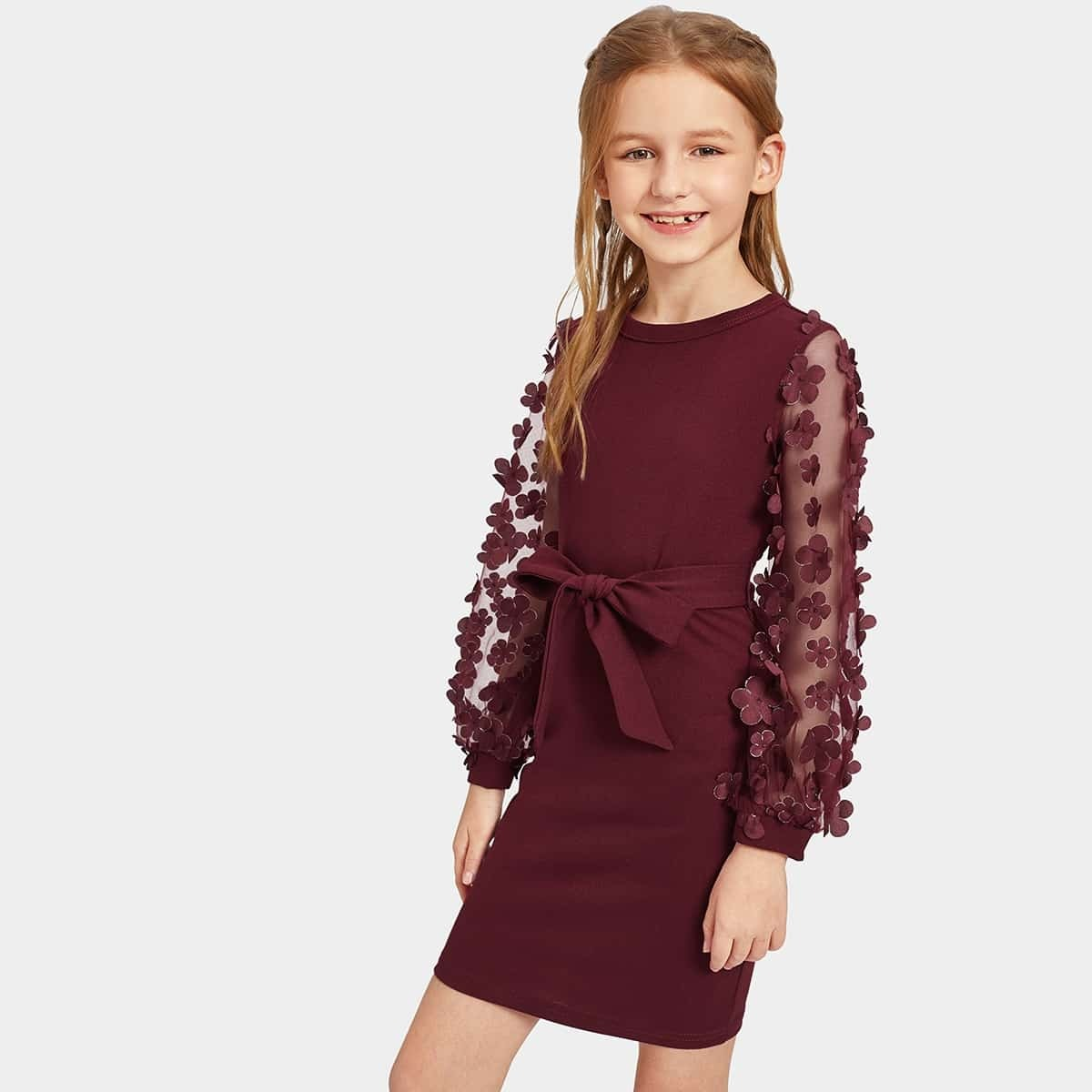 Mädchen Kleid mit Netzstoff, Applikation und Gürtel