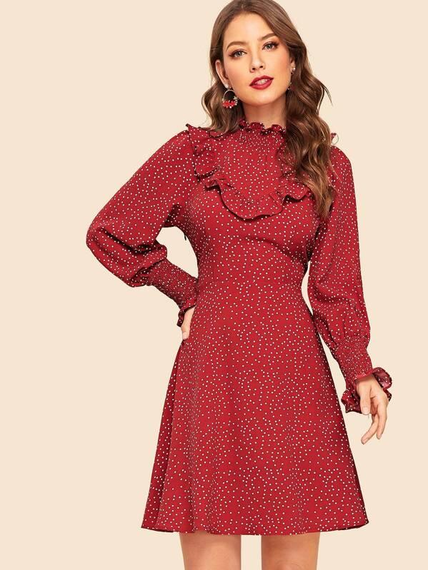 16b318ef0857 70s Dalmatian Shirred Neck & Cuff Midi Dress | SHEIN