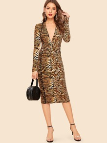 30s Plunging Neck Twist Front Animal Print Dress
