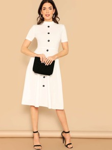 Button Front Mock-neck Solid Dress