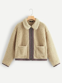 Embroidered Tape Trim Zip Up Teddy Jacket