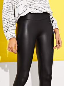 7b8a965db02b9 Wide Waistband Skinny Faux Leather Pants | SHEIN