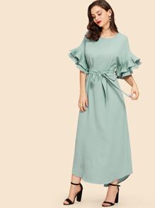 Pleated Flounce Sleeve Curved Hem Dress