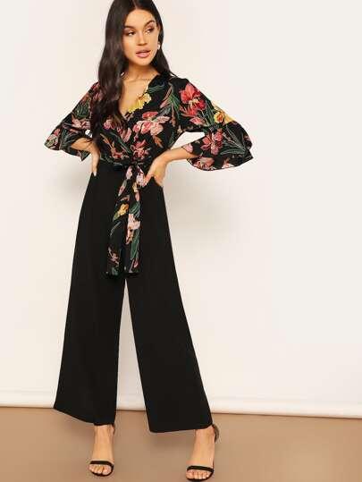 8e4c0968 Floral Wrap Bodice Wide Leg Jumpsuit