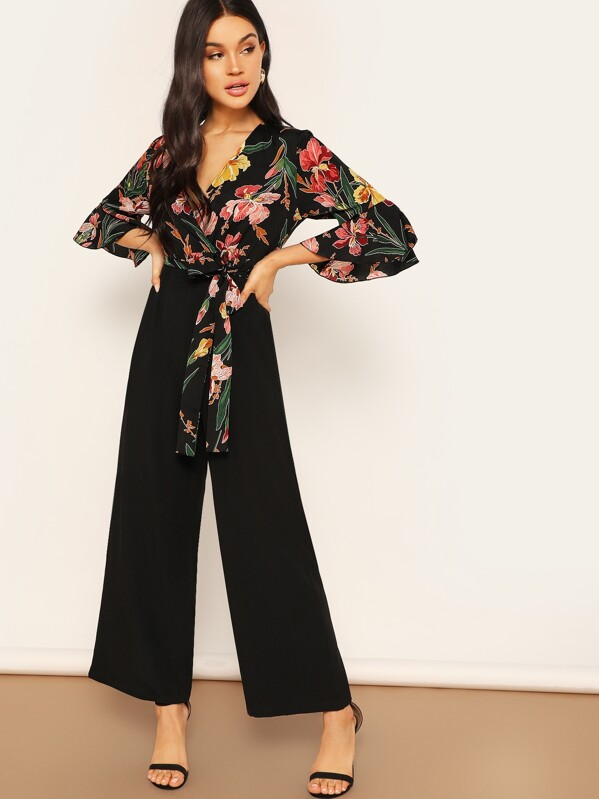 abb377aaa9 Floral Wrap Bodice Wide Leg Jumpsuit