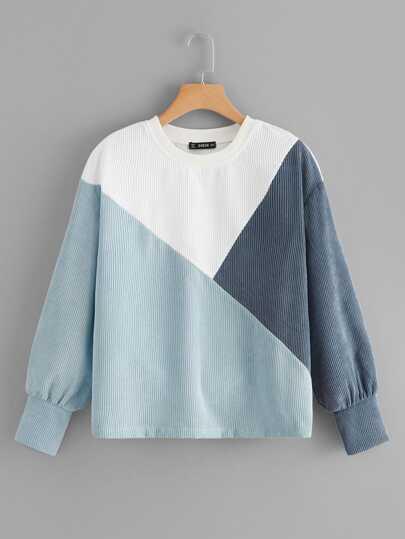 c25bf16901bc Drop Shoulder Colorblock Rib-knit Sweatshirt
