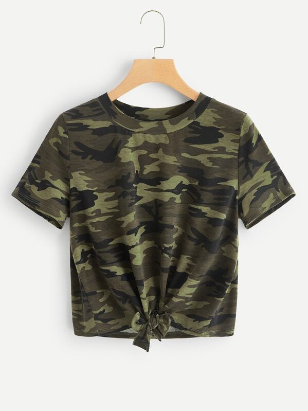 Knot Front Camo Tee by Shein