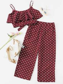 Polka Dot Flounce Cami Top & Culotte Pants Co-Ord