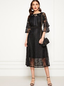 Lace Layered Sleeve Tie Neck Dress