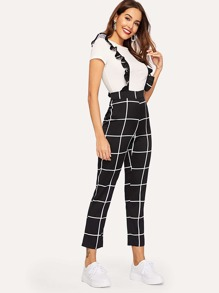 Plaid Ruffle Strap Jumpsuit