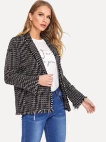Frayed Trim Pocket Patched Tweed Blazer