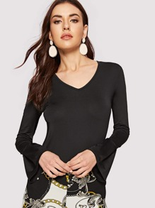 V-neck Bell Sleeve Slim Fitted Tee