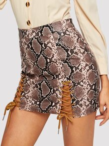 Snake Skin Print Lace Up Hem PU Skirt