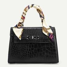Twilly Scarf Crocodile Pattern Satchel Bag