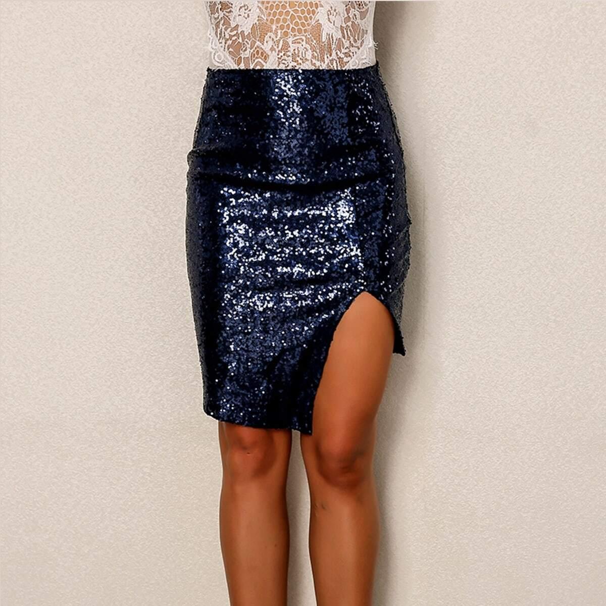 асимметричная облегающая юбка с блестками и разрезом