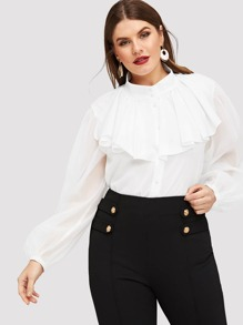 Plus Button Up Ruffle Trim Solid Shirt