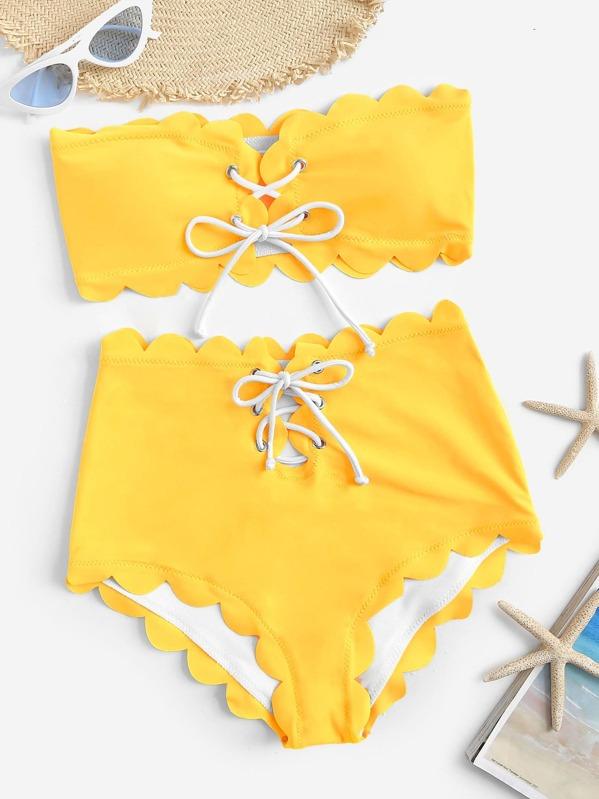 21720dd2d1 Scalloped Trim Lace-up Bandeau With High Waist Bikini | SHEIN