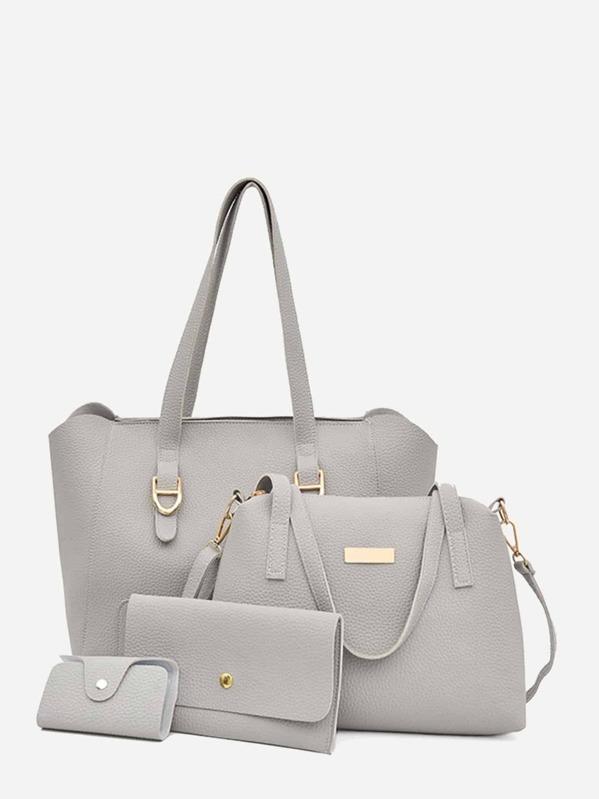 6abebfcc99 Pebble Detail Tote Bag With Wallet 4pcs | SHEIN