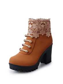 Lace Panel Lug Sole Chunky Boots