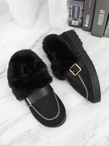 Stitch Detail Buckle Decor Fluffy Flats