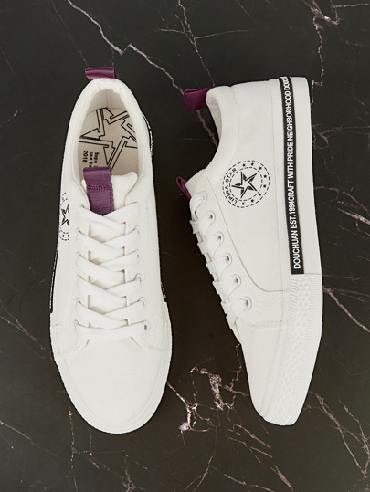 Guys Star Print Canvas Sneakers