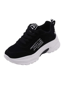 Slogan Print Chunky Sole Trainers