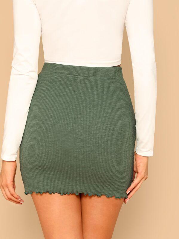 Lettuce Trim Rib Knit Bodycon Skirt by Shein