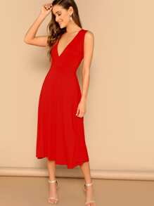 Surplice Plunge Flowy Midi Dress